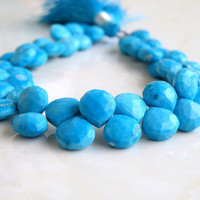 Howlite Dyed Turquoise Gemstone Briolette Blue Faceted Heart 7.5mm 1/2 Strand 22 beads