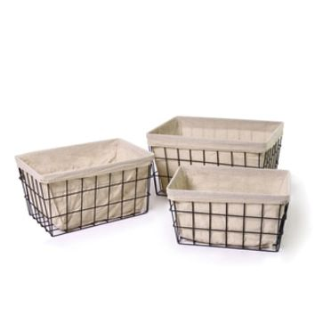 Adeco Rectangular Minimalist Rustic Iron Baskets (Set of 3) - 16178252 - Overstock - Great Deals on Adeco Baskets & Bowls - Mobile