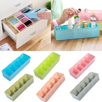 1pc 5 Cells Plastic Organizer Storage Box Tie Bra Socks Drawer Cosmetic Divider Tidy