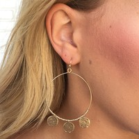 Nala Dangle Hoop Earrings In Gold