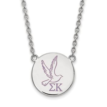 Sterling Silver Sigma Kappa Large Enamel Necklace