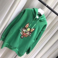 PEAPNN Gucci Fashion dog Embroidered Sweatshirt Pullover Hoodie