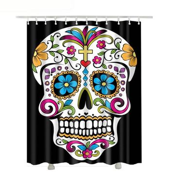 Cross Skull Shower Curtain Black Waterproof Polyester Fabric Flower Shower Curtains Bathroom Curtain