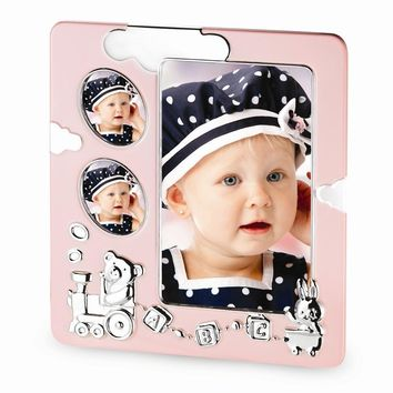 Blue/Pink Baby Train Photo Frame