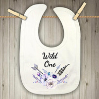 Wild One Baby Bib - Baby Shower Present for a Baby Girl - Boho Baby Shower Present - Purple Flowers with Feathers and Arrows Baby Gift