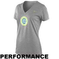Nike Chicago Cubs Womens MLB Legend V-Neck Performance T-Shirt - Ash