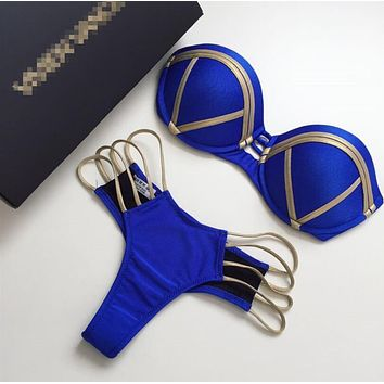 Sexy Women Stylish Metal Color Color Matching Strapless Bottom Side Hollow Two Piece Bikini Swimwear Bathing Blue I11972-1