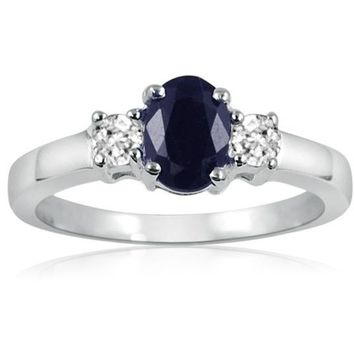 Sapphire and White Topaz Three Stone Ring in Sterling Silver ( Available Sizes 5-9)