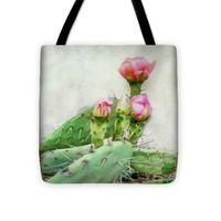 """Cactus With Pink Blooms Tote Bag 16"""" x 16"""""""