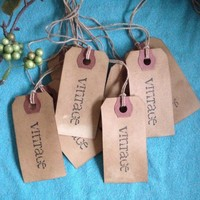 Small Vintage Word Stamped Hang Tags  Primitive Coffee Stained Gift Tags Strung Manila Hang Tags
