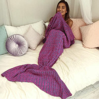 Warm Winter&Spring Handmade Knitted Mermaid Sofa Blanket Home Children Adult +Christmas Gift -Necklace