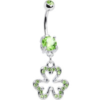 Peridot Cubic Zirconia Brilliant Three Leaf Clover Dangle Belly Ring | Body Candy Body Jewelry