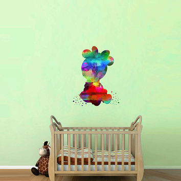 kcik2129 Full Color Wall decal Watercolor Character Disney baby Minnie Mouse children's room Sticker Disney