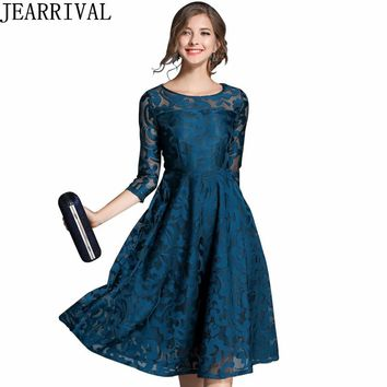 2018 New Spring Summer Lace Dress Women Fashion O-Neck A-Line Hollow Out Casual Office Party Dress Plus Size S-5XL Vestidos