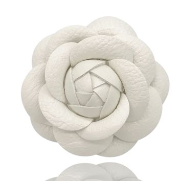 MISASHA White PU leather Camellia Brooch