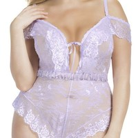 Plus Size Lace Romper with V-Neck Plunge and Eyelash Lace Design