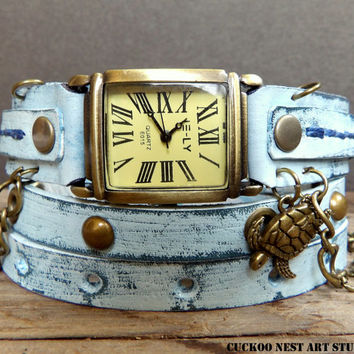 Ocean Blue Wrap Watch, Womens leather watch, Bracelet Watch, Chain Wrist Watch, Distressed Blue Watch