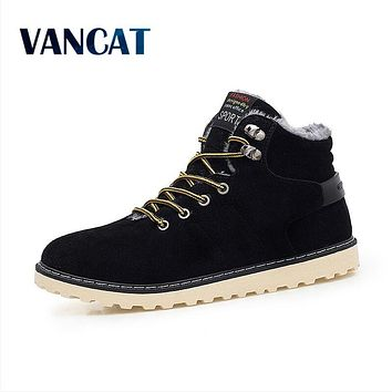 VANCAT New Arrival Lace-Up Men Fashion Boots Wear Resistant Handmade Ankle Boots Working Boots Men Casual Shoes Size 39~45
