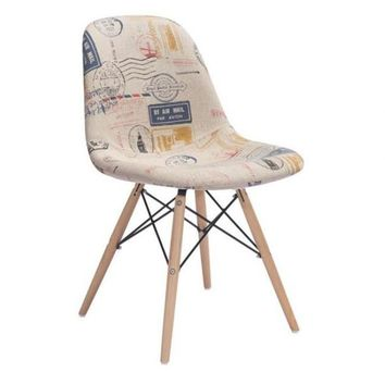 ZUO Modern Solo Vintage Postage Print 100508 Dining Chairs