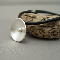 Radar Dish Dome Pendant. Sterling Silver Modern Contemporary Round Disk Pendant.