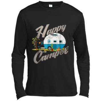 Happy Camper Camping Vintage distressed Tee Long Sleeve Moisture Absorbing Shirt