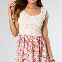 Short Print Casual Dress with Lace Bodice
