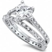 Cicely's Heart Shape Cubic Zirconia Sterling Silver Wedding Ring Set