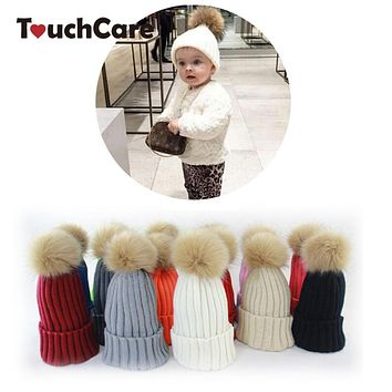 Man Made Infant Raccoon Fur Hats Knitted Baby Caps Fur Hat For Kids Children Baby Hats For Girls Kids Crochet Outfits