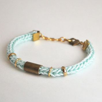 Mint bracelet with tube, knit bracelet, cord bracelet tube bracelet, stacking bracelet