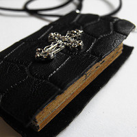Cross book necklace