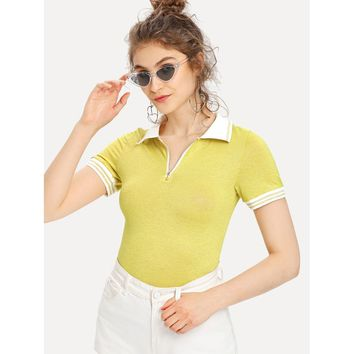 Zip Placket Striped Trim Fitted T-shirt