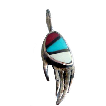 vintage BEAR CLAW pendant turquoise silver native american charm