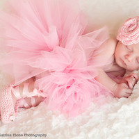 Baby Ballet Slippers and Rose Headband by WillowsGarden on Etsy