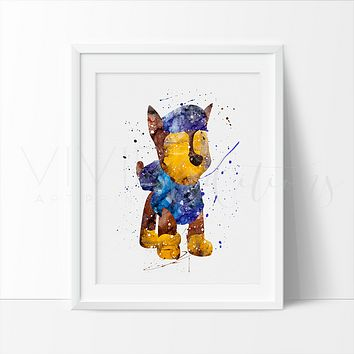 Chase, Paw Patrol Watercolor Art Print