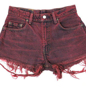 ALL SIZES - Vintage Levis Maroon Dyed Frayed High Waisted Hipster Cutoff Denim Jean Shorts