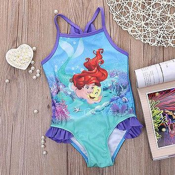 Cartoon Mermaid Princess Girls Overalls Jumpsuit One-Piece Mermaid Costume Girls Beachwear Overalls One-Piece 2T-6T