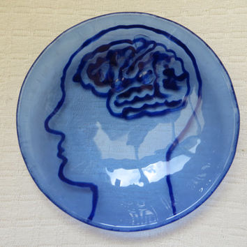 little sceince in Brains Jewelry dishes- Blue jewelry boxes tea or candleholders bowl fused blue glass - Sceince Dutch design in blue