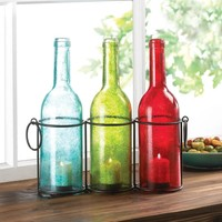 Carrington Glass Bottle Trio Tealight Candle Holder