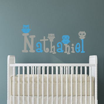 Personalized Wall Decals For Boys Name Decal Kids Nursery Owl Vinyl Stickers Home Bedroom Decor T59