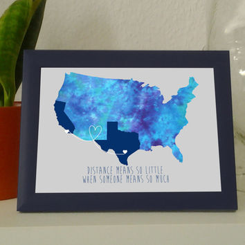 Framed Personalized map ,US art print, map. long distance, friendship, love, home decor, wall art