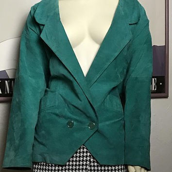 Vintage 80s Teal WINLIT Leather Jacket / Womens Oversized Turquoise Suede Jacket / Double Breasted Leather Blazer / Rad Funky Color Block