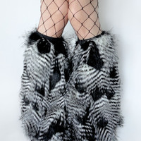 MADE TO ORDER FeATHEr FuR Fluffies legwarmers furry bootcovers fuzzy boots gogo rave black white Fancy Upscale  costume festival leggings