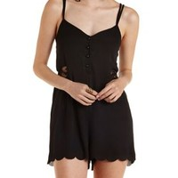 Black Button-Up Strappy Chiffon Romper by Charlotte Russe