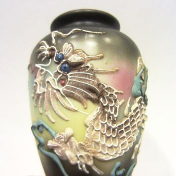 Japanese Majolica Dragon Vase Jeweled Blue Coral Enameling Eyes With Stamp Mark