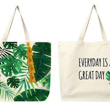 Tropical Forest Tote, Canvas Tote Bag, Personalized Tote Bags, Tropical Hand Bag, Tropical Canvas Tote Bag, Gift For Women