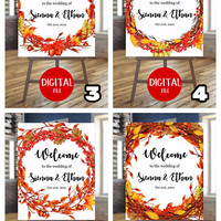 Autumn party sign | Digital sign | Leaves wreath | Autumn events | Birthday sign | Custom sign | Customizable | Welcome sign |  Poster
