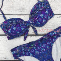 Summit Sands Purple Aztec Tribal Bikini Set