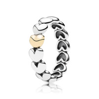 PANDORA | Hearts silver ring with 14k heart