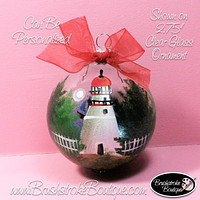 Hand Painted Ornament - Glass Ball Ornament - Marblehead Lighthouse - Original Designs by Cathy Kraemer
