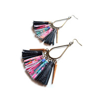 Leather Tassel Spike Chandelier Earrings, Fringe Leather Jewelry | Boo and Boo Factory - Handmade Leather Jewelry